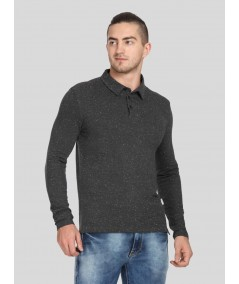 Self Textured Long Sleeve Polo TShirt