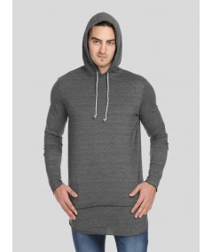 Grey long line Hooded Sweat Shirt