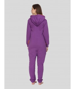Purple Fleece Jumpsuit for Women