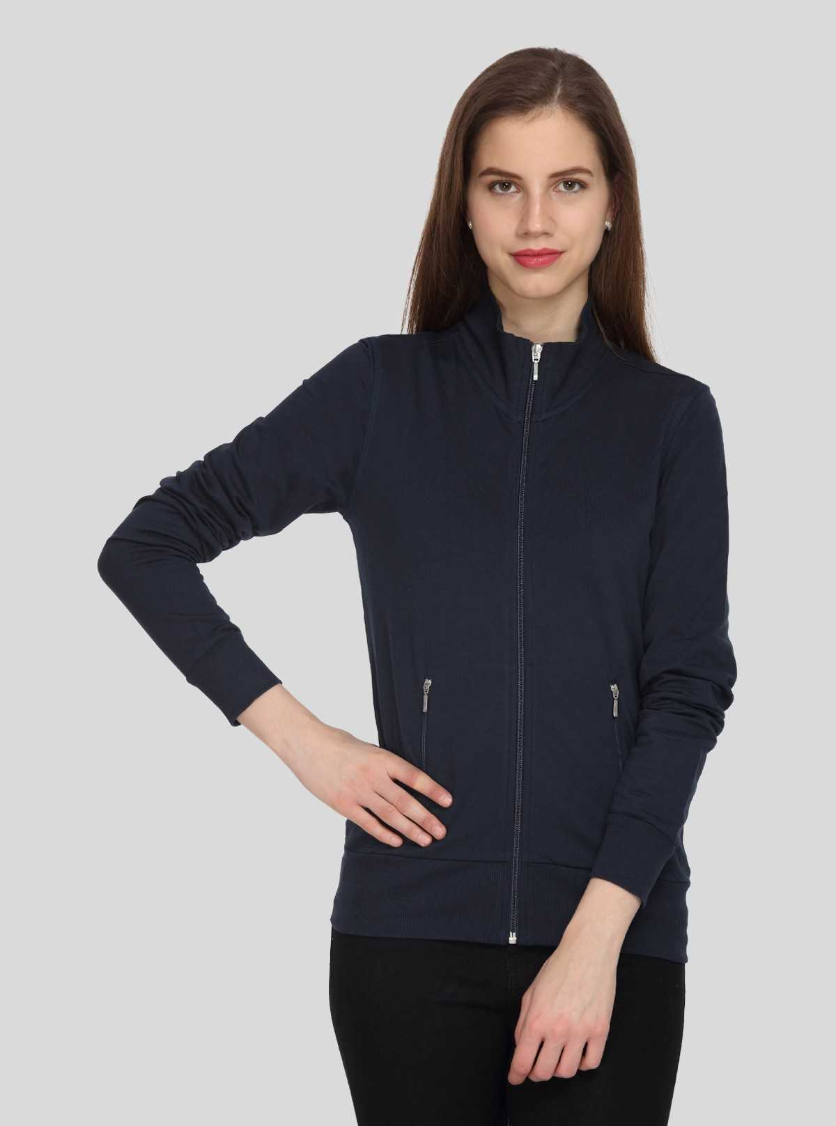 Navy Zipper Sweat Shirt