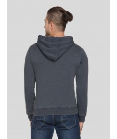 Black Hooded Garment Dyed Sweat Shirt