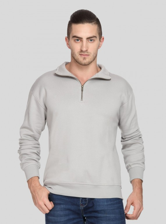 Grey zip Collar Sweat Shirt