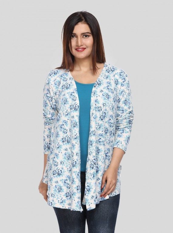 Blue Floral Print Shrug Boer and Fitch - 1