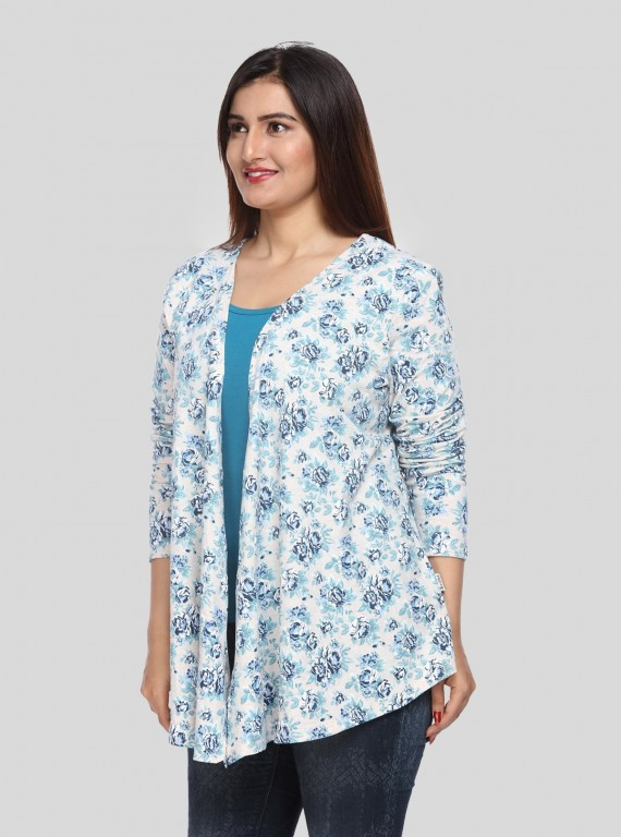 Blue Floral Print Shrug Boer and Fitch - 2