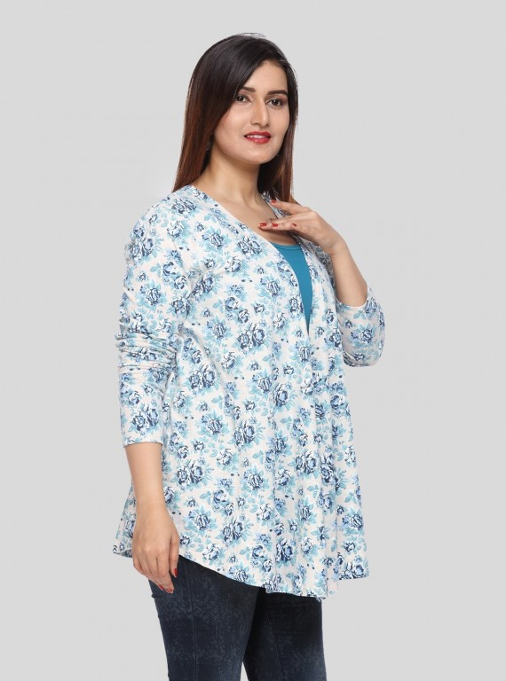 Blue Floral Print Shrug Boer and Fitch - 3