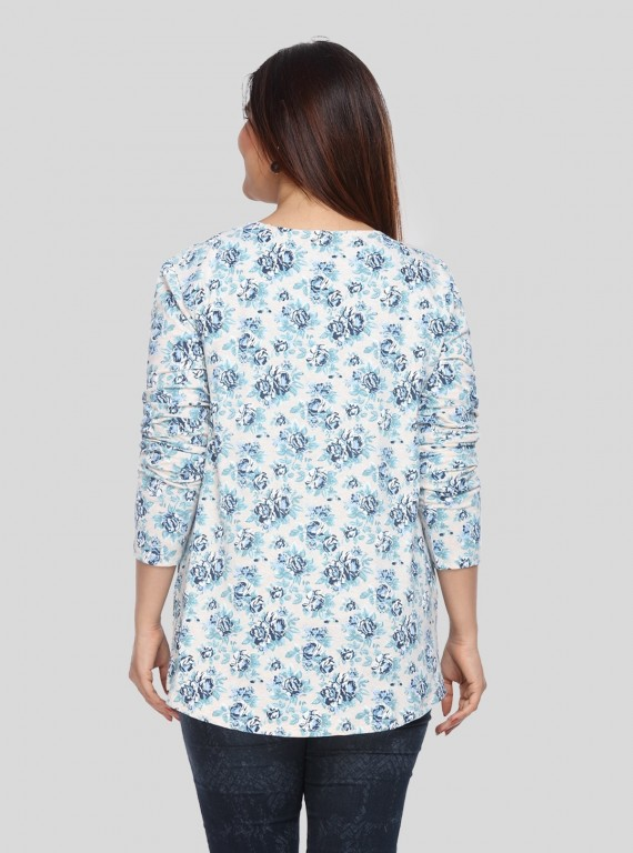 Blue Floral Print Shrug Boer and Fitch - 4
