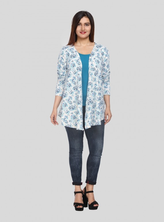 Blue Floral Print Shrug Boer and Fitch - 5