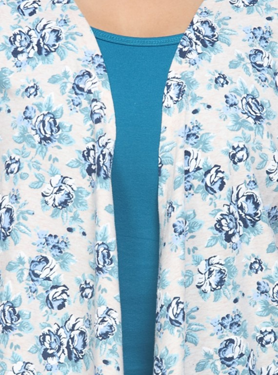 Blue Floral Print Shrug Boer and Fitch - 6