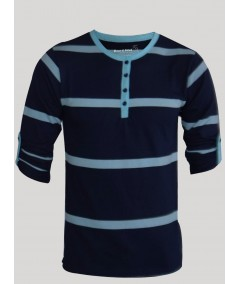 Stripped Navy Henley Tshirt Boer and Fitch - 1