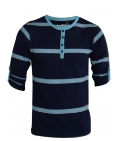 Stripped Navy Henley Tshirt Boer and Fitch - 3