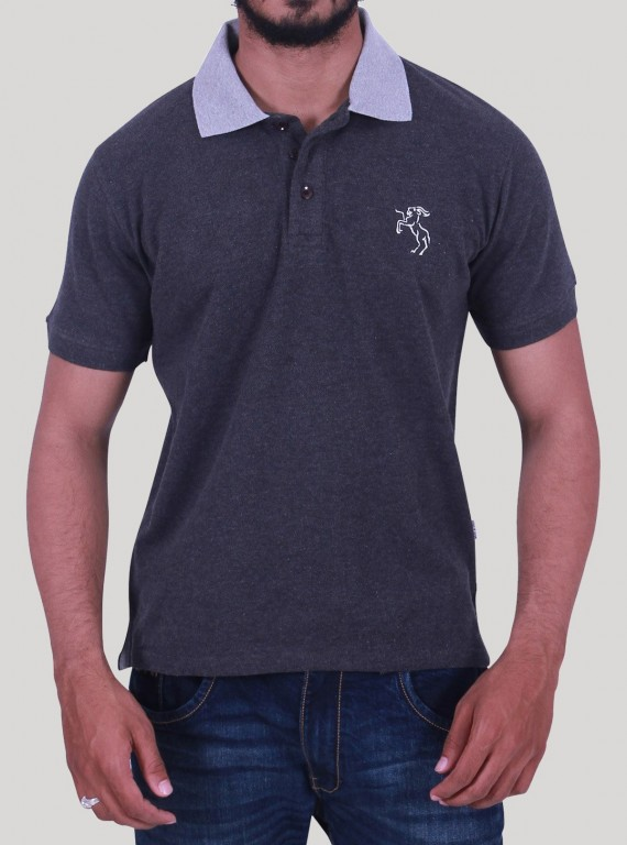 Contrast Collar Dark Melange Polo Boer and Fitch - 1