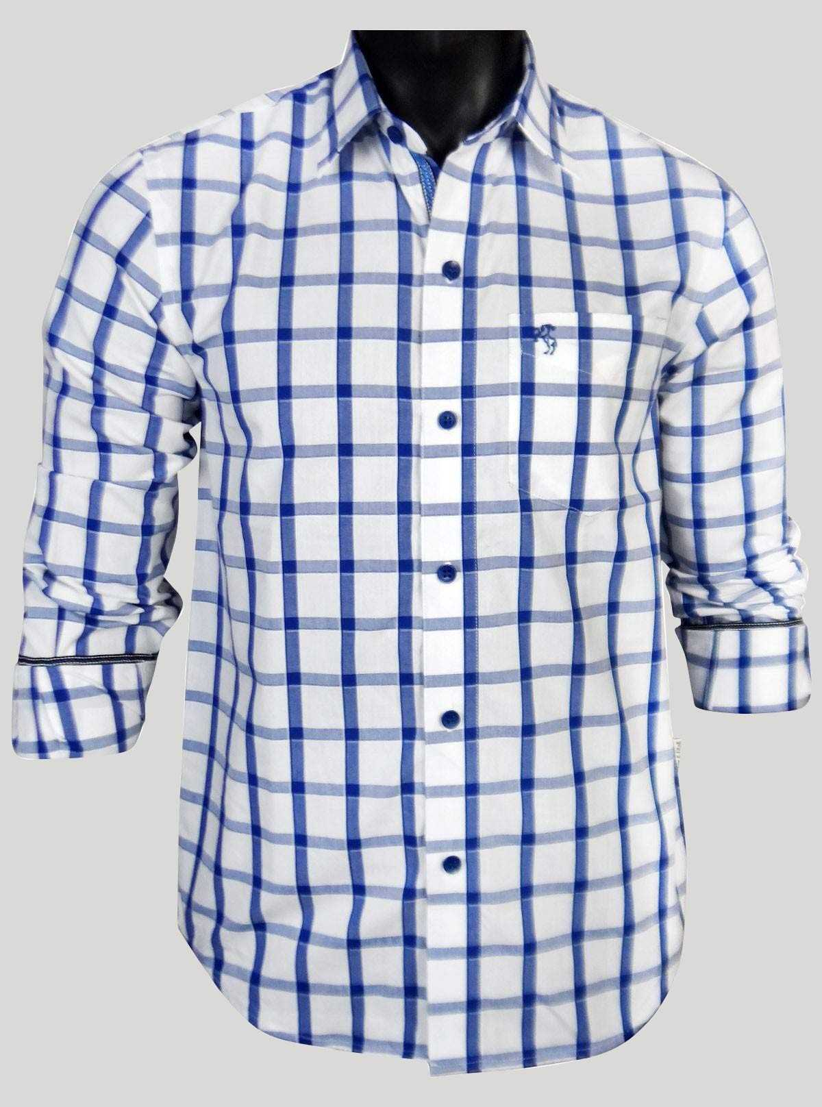 Regular Fit - Ink Blue Check Casual Shirt Boer and Fitch - 1