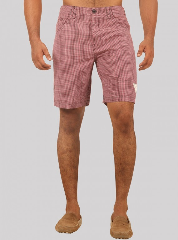 Burgundy Micro Check Shorts Boer and Fitch - 1