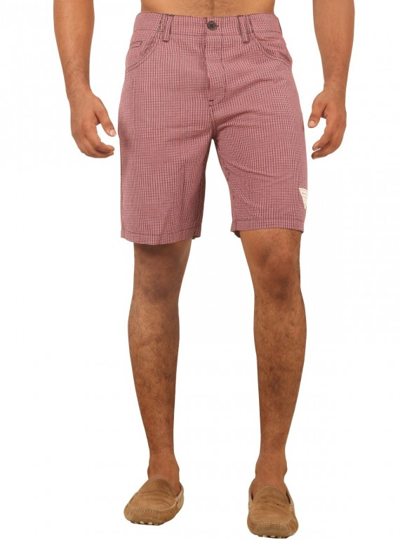 Burgundy Micro Check Shorts Boer and Fitch - 2