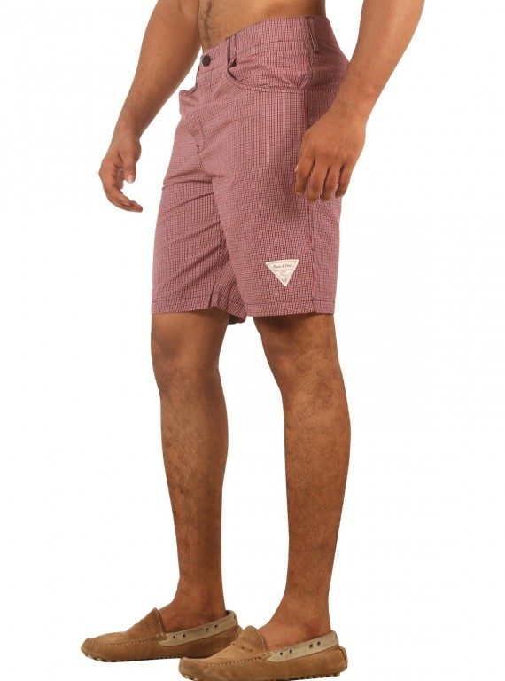 Burgundy Micro Check Shorts Boer and Fitch - 3