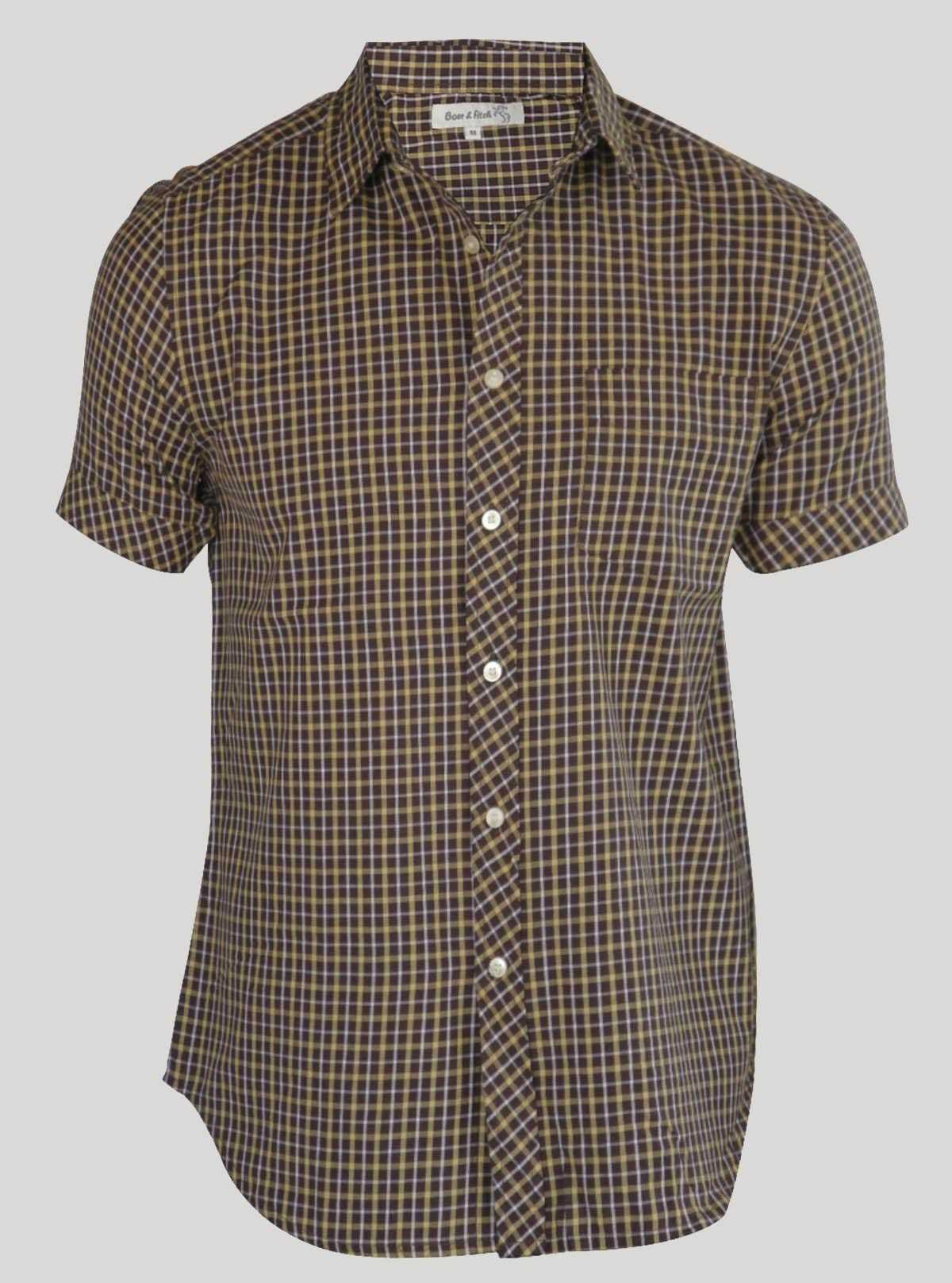 Slim Fit - Yellow Brown Checker Shirt Boer and Fitch - 1