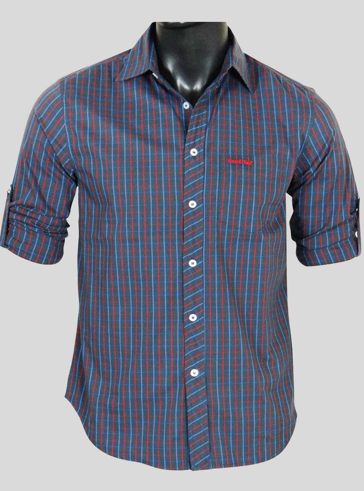 Slim Fit - Grey Multi Check Shirt Boer and Fitch - 1
