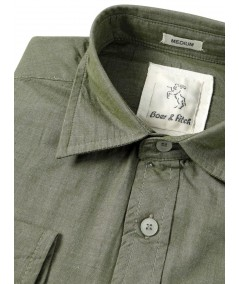 Slim Fit - Green Cotton Shirt Boer and Fitch - 4