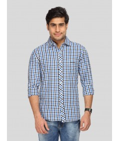 Ink Blue Chereckered Shirt Boer and Fitch - 1