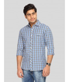 Ink Blue Chereckered Shirt Boer and Fitch - 2