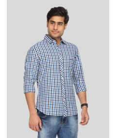 Ink Blue Chereckered Shirt Boer and Fitch - 3