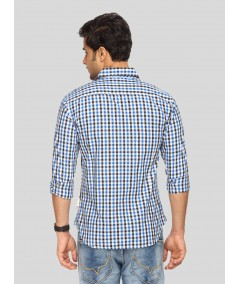 Ink Blue Chereckered Shirt Boer and Fitch - 4