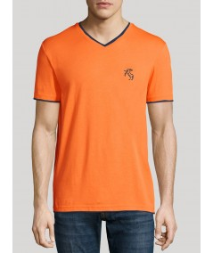 Orange V Neck Contrast Tshirt Boer and Fitch - 1