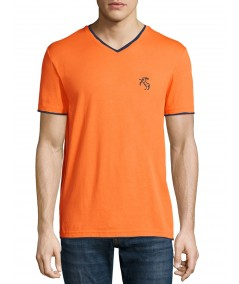 Orange V Neck Contrast Tshirt Boer and Fitch - 2