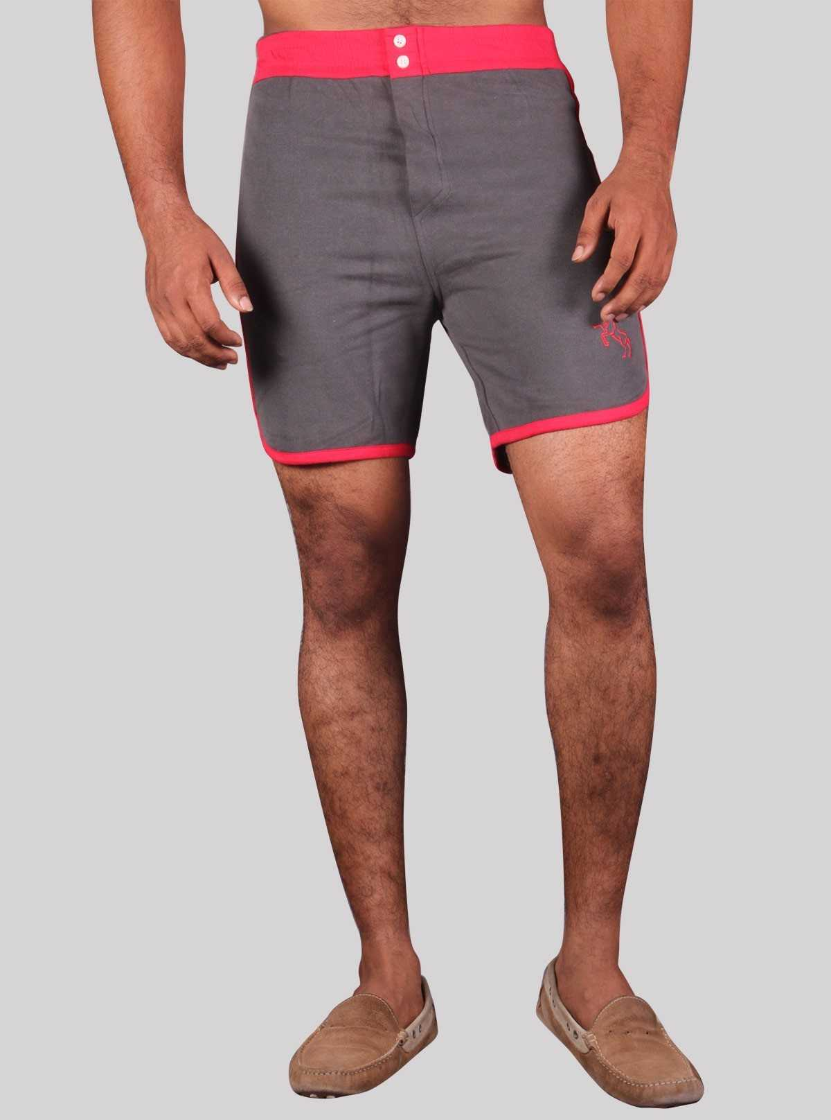 Red Contrast Fleece Shorts Boer and Fitch - 1