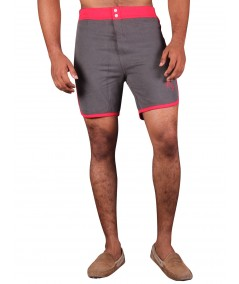 Red Contrast Fleece Shorts Boer and Fitch - 2