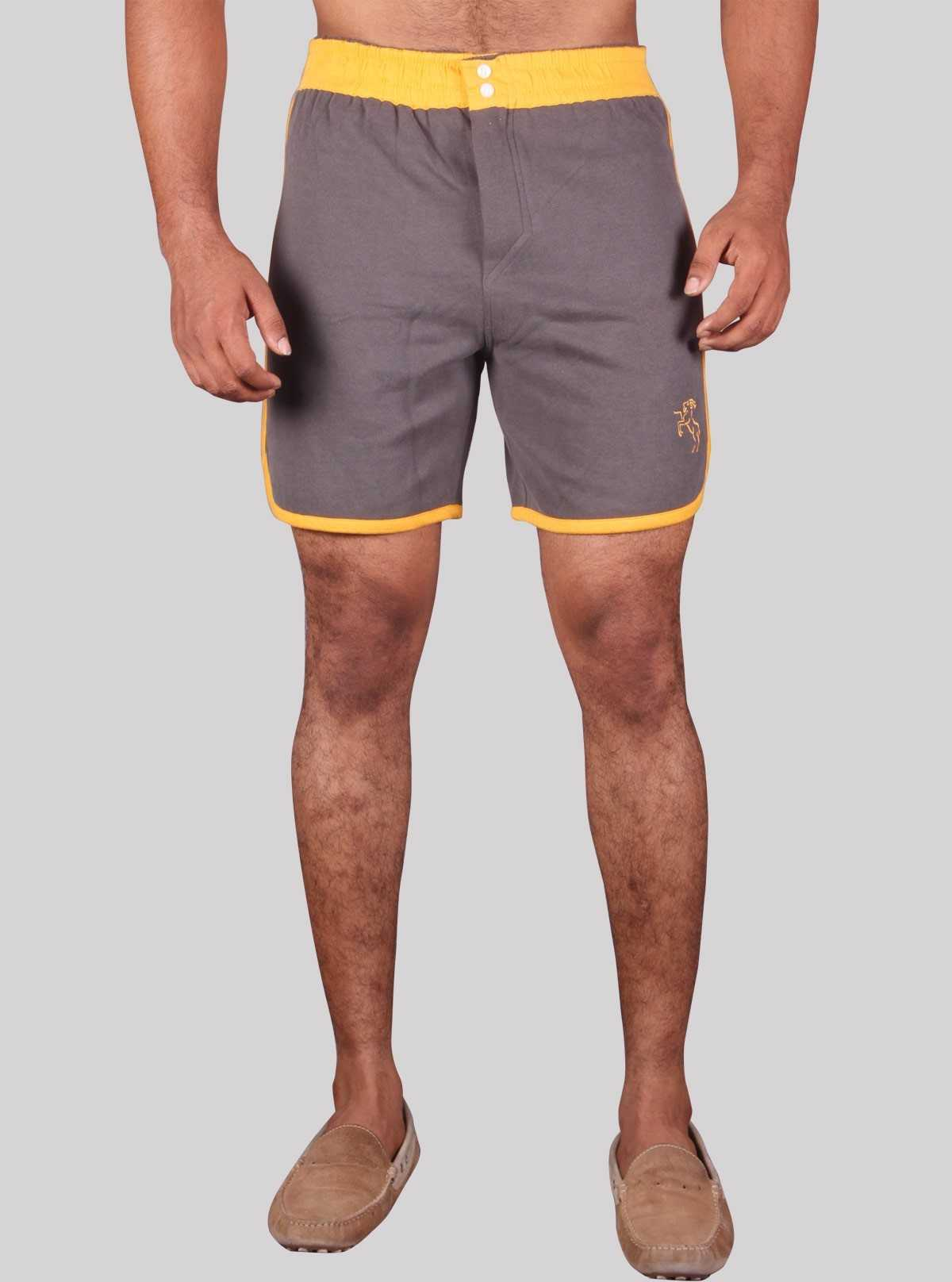 Yellow Contrast Fleece Shorts Boer and Fitch - 1