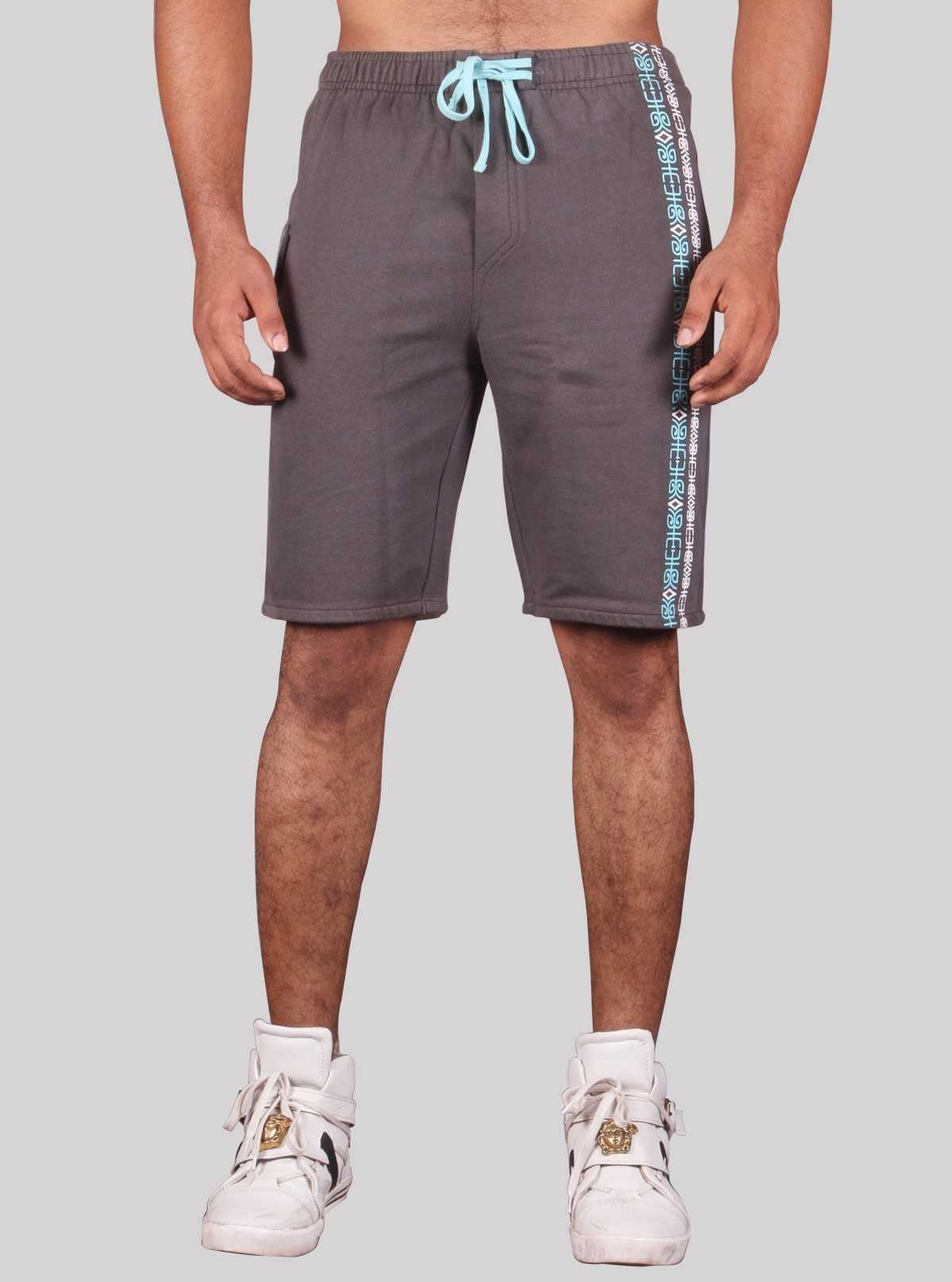 Grey Printed Fleece Shorts Boer and Fitch - 1