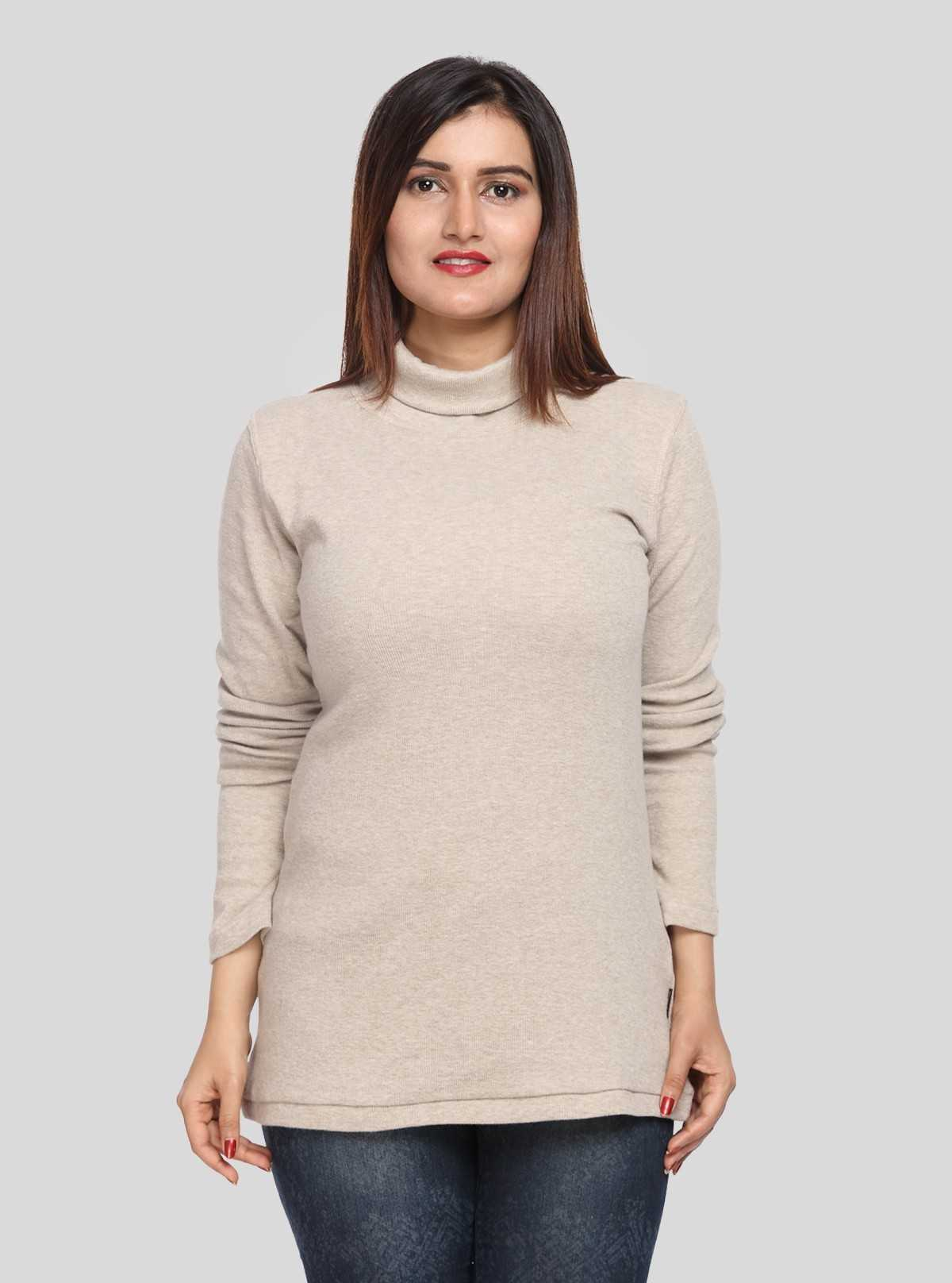 Beige Turtle Neck Top Boer and Fitch - 2