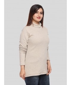 Beige Turtle Neck Top Boer and Fitch - 4