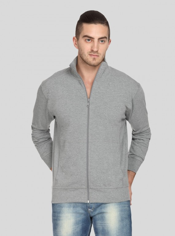Grey Melange Full Zipper Sweat Shirt
