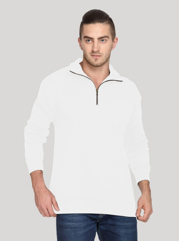 White Melange zip Collar Sweat Shirt