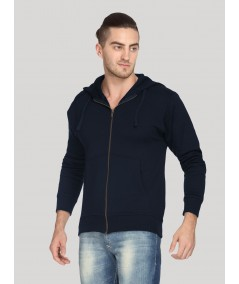 Navy Hooded Zipper Sweat Shirt Boer and Fitch - 3