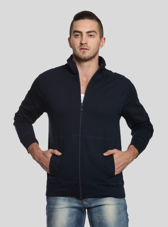 Navy Full Zipper Cardigan Boer and Fitch - 1