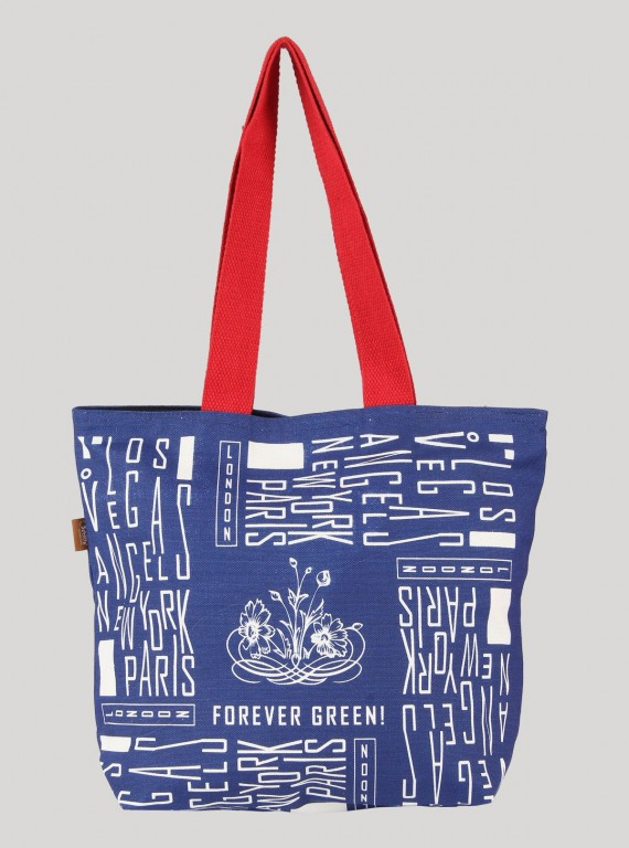 Los Vegas Blue Print Canvas Bag Boer and Fitch - 1