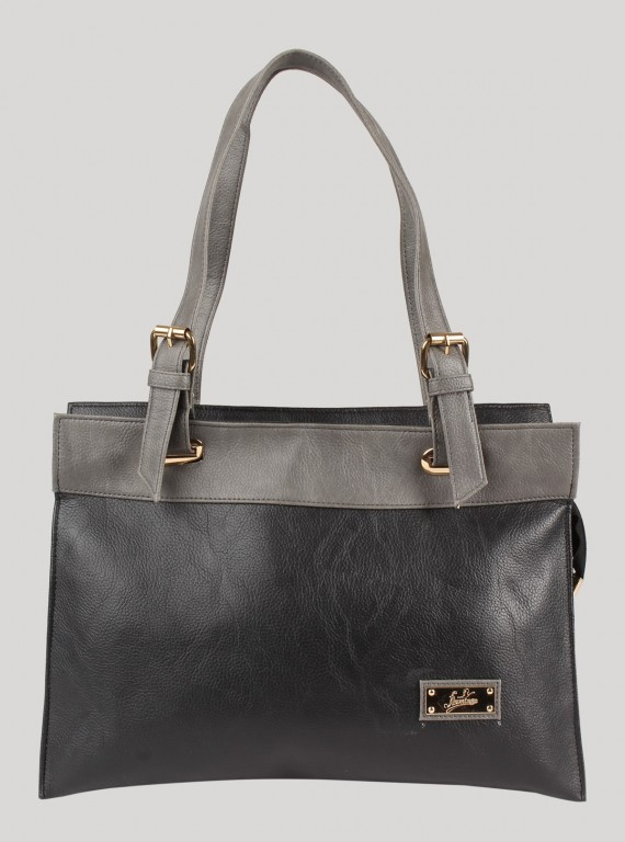 Black and Grey Leather Bag