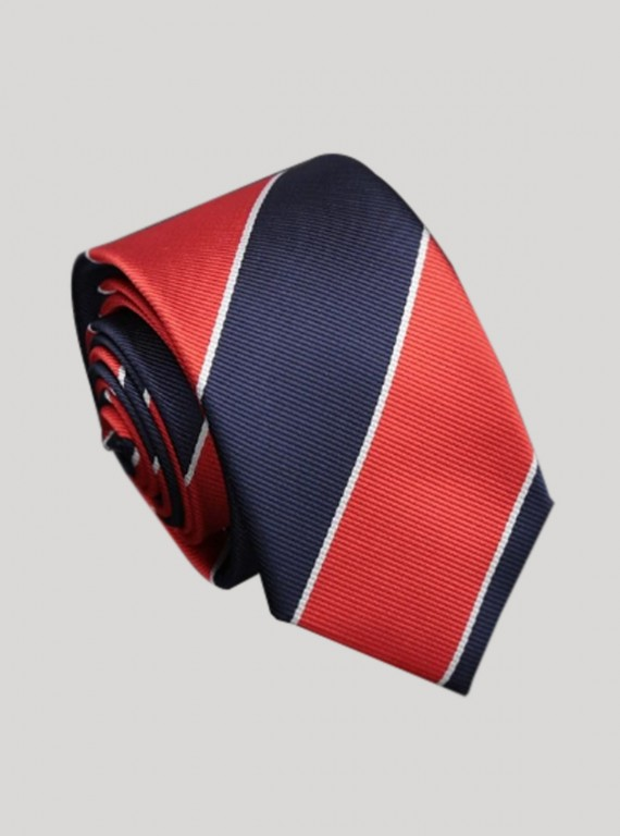 Red Stripe Classic Tie Boer and Fitch - 1