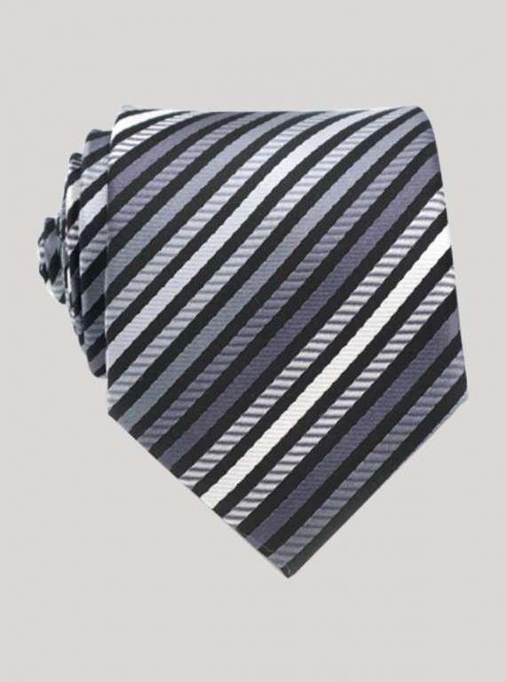 Black Multi Stripe Tie Boer and Fitch - 1