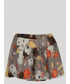 Grey Contrast Floral Short Skirt