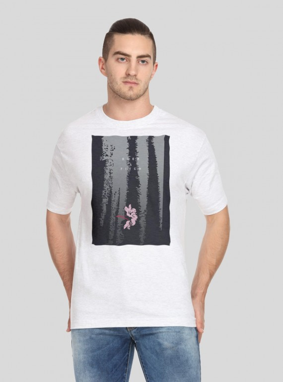 White Graphic Print TShirt Boer and Fitch - 1