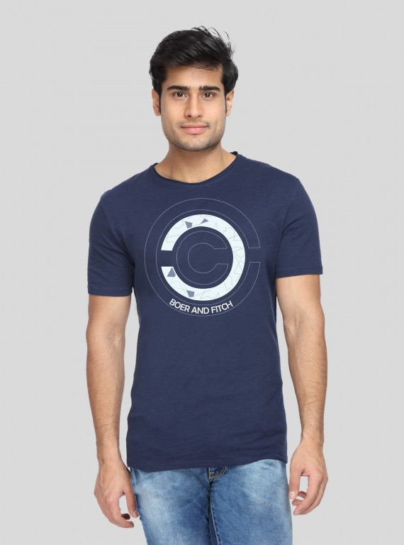 Navy Printed TShirt Boer and Fitch - 1